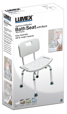 BATH SEAT W/OUT BACK SEA GRAY LUMEX 1 EA UNASSEMBLED